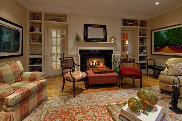 overstuffed chair Living Room Traditional with Bookcase with door Fireplace