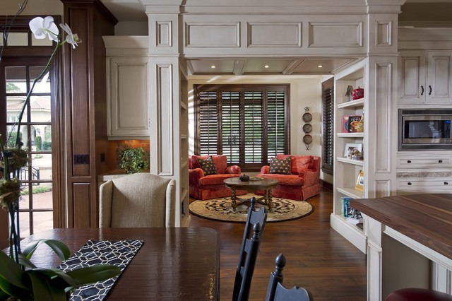 Overstuffed Chair Living Room Traditional with Built in Bookshelf Built in Storage1