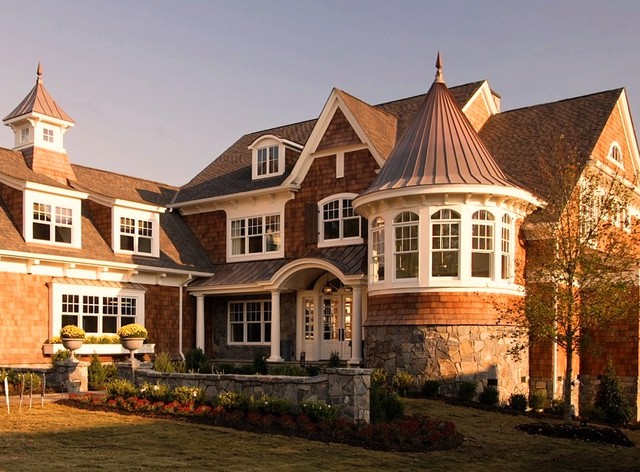 Owens Corning Shingles Exterior Victorian with Cape Cod Column Grass