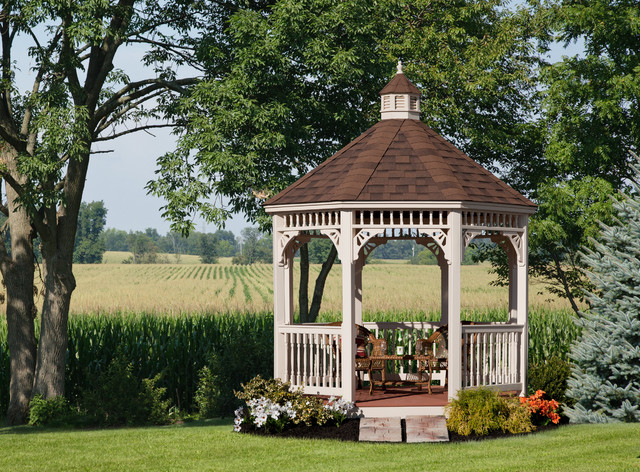 owens corning shingles Patio Victorian with beige corbels beige gazebo