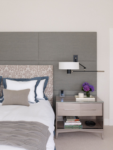 Padded Headboard Bedroom Beach with Beige Nightstand Beige Patterned