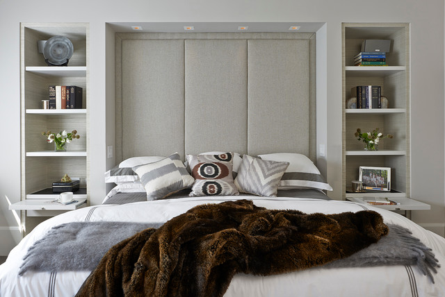 Padded Headboard Bedroom Contemporary with Apartment Bedding Built In
