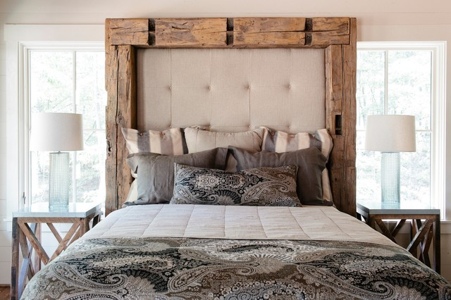 Padded Headboard Bedroom Rustic with Glass Lamp Base Natural
