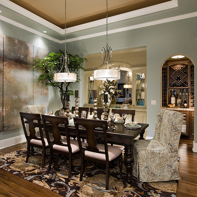 Pahlisch Homes Dining Room Traditional with Blue and Brown Built