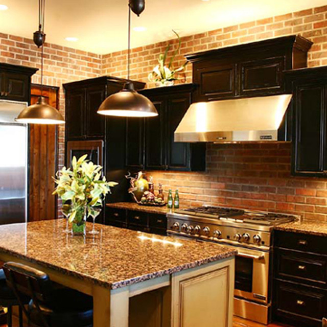 pahlisch homes Kitchen Contemporary with black cabinets brick wall