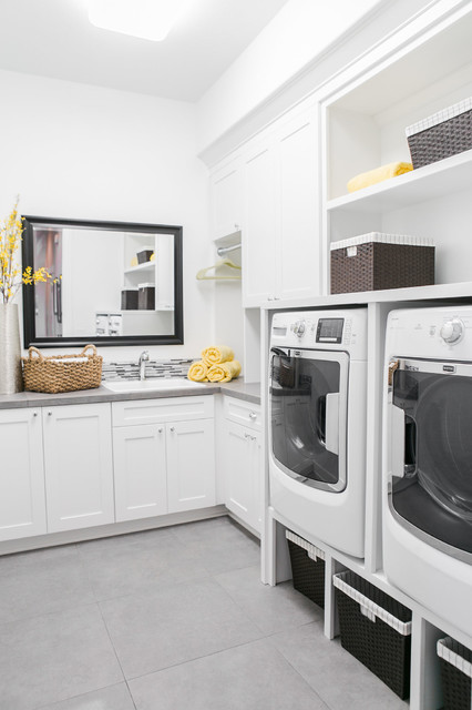 Pahlisch Homes Laundry Room Transitional with Frame Mirror Gray Countertop