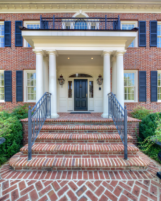 Palladian Window Entry Traditional with Arched Window Balcony Black