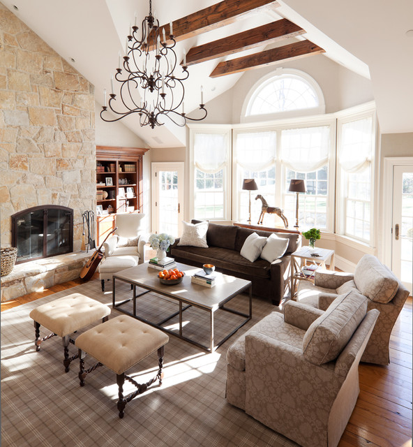 Palladian Window Family Room Traditional with Brown Couch Brown Plaid
