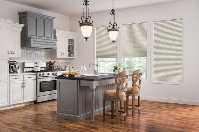 Palladian Window Kitchen Transitional with Cellular Shades Curtains Drapery