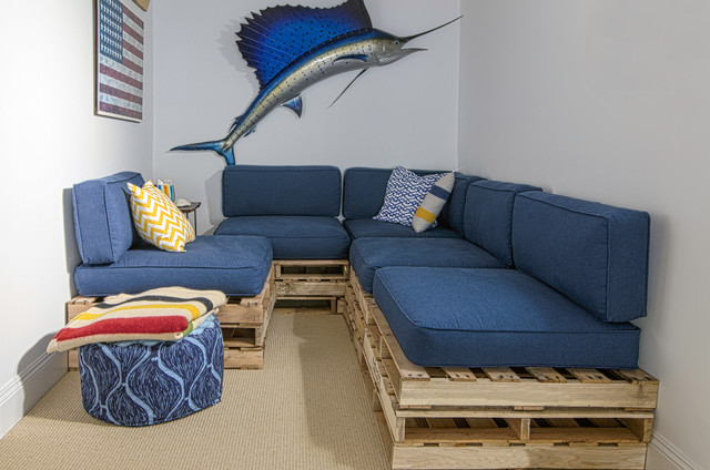 Pallet Shed Basement Beach with American Flag Beige Carpet