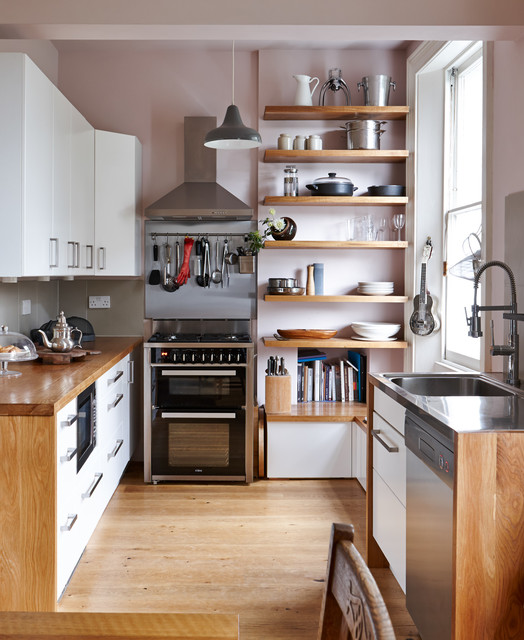 pantry cabinet ikea Kitchen Contemporary with cooker hood floating shelves