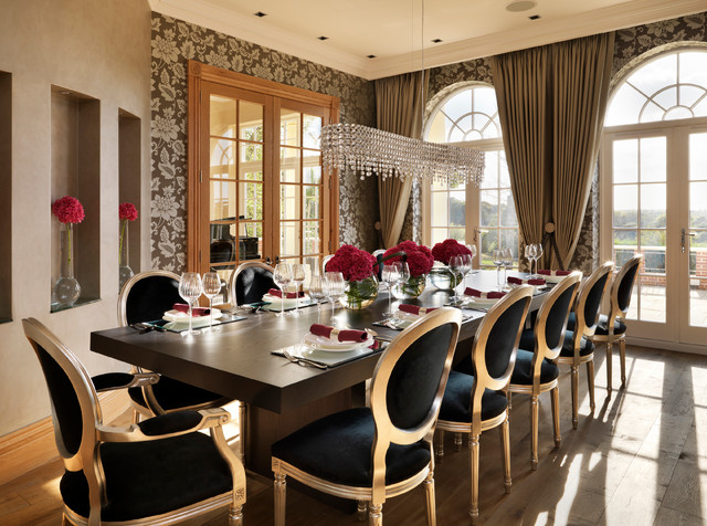 paper napkin rings Dining Room Traditional with black upholstered dining chairs