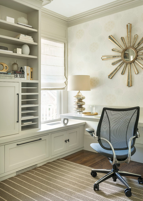 Paper Sorter Home Office Transitional with Built in Cabinetry Desk