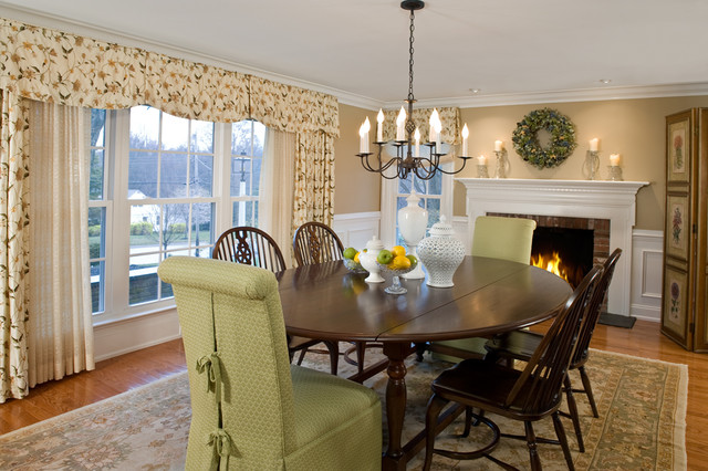 parson chair covers Dining Room Traditional with area rug ceiling lighting