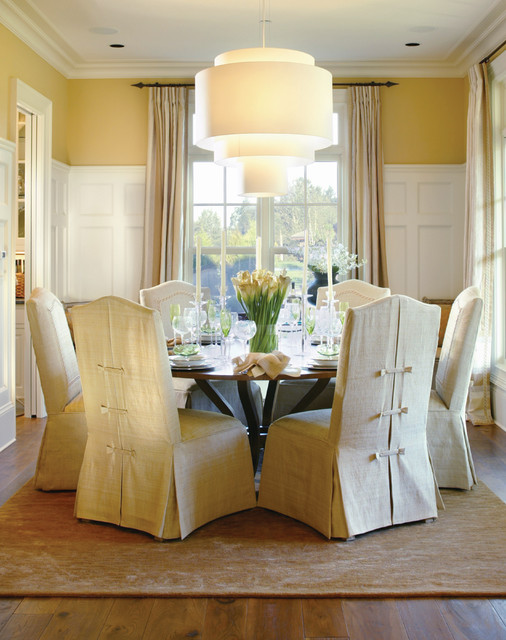 Parsons Chair Slipcovers Dining Room Traditional with Area Rug Ceiling Light