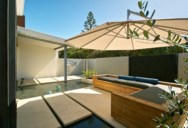 Patio Umbrella Base Patio Beach with Concrete Stepping Stones Covered