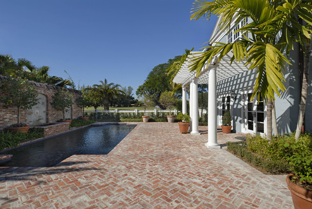 Paver Patterns Pool Traditional with Aged Brick Brick Brick