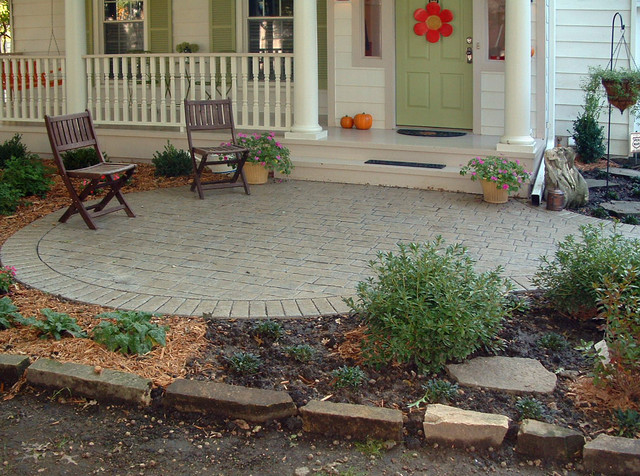 Paver Patterns Porch Traditional with Bark Mulch Columns Covered
