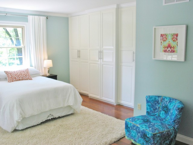 Pax Wardrobe Bedroom Eclectic with 1950s Chair Aqua Bedroom1