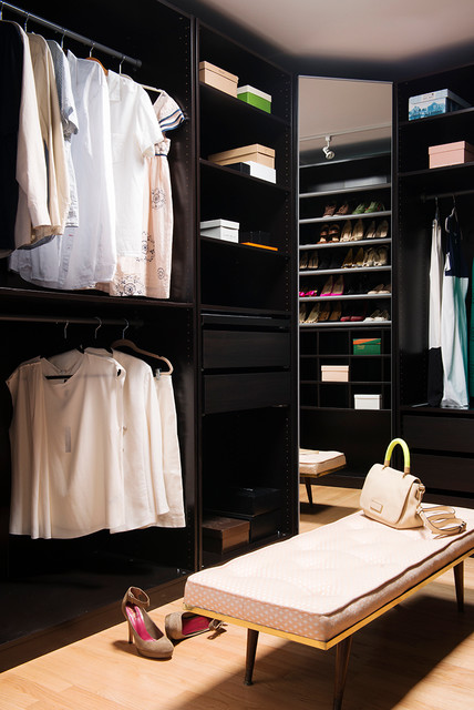 Pax Wardrobe Closet Modern with Dark Walls His And3