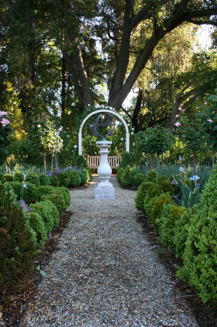Pea Gravel Landscape Traditional with Arbor Bench Formal Gravel