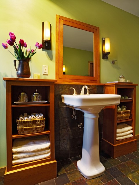 Pedestal Sink Cabinet Bathroom Contemporary with Bathroom Built Ins Designbuild Green