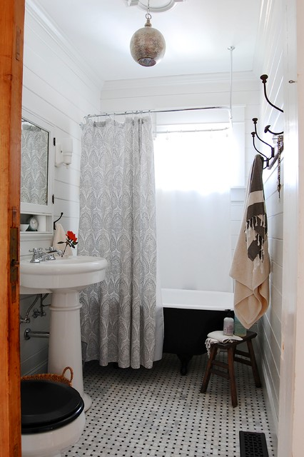 Pedestal Sink Cabinet Bathroom Eclectic with Asheville Basketweave Tile Floor