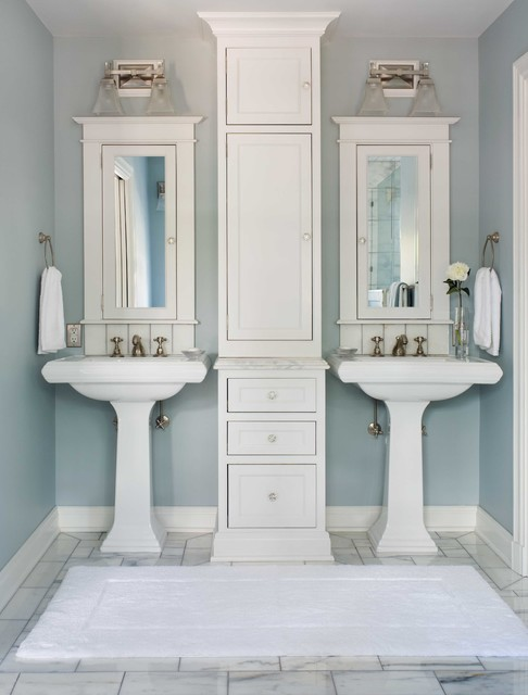 Pedestal Sink Cabinet Bathroom Traditional with Bathroom with 2 Sinks