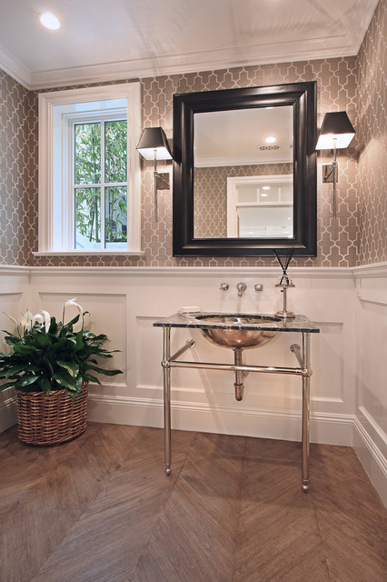 Pedestal Sink Cabinet Powder Room Traditional with Bathroom Mirror Black Framed Mirror