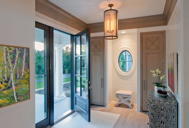 Pella Doors Entry Transitional with Artwork Covered Entry Crown