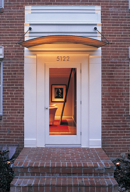 Pella Storm Doors Entry Contemporary with Awning Brick Paving Brick