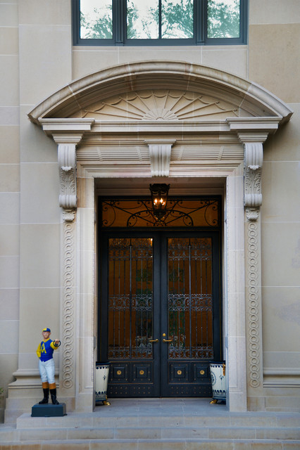 Pella Storm Doors Entry Traditional with Acanthus Leaf Corbels Black
