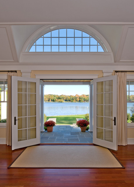 pella windows Entry Traditional with arched window area rug
