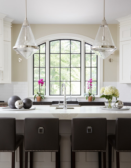 Pella Windows Kitchen Transitional with Arch Window Bar Stools