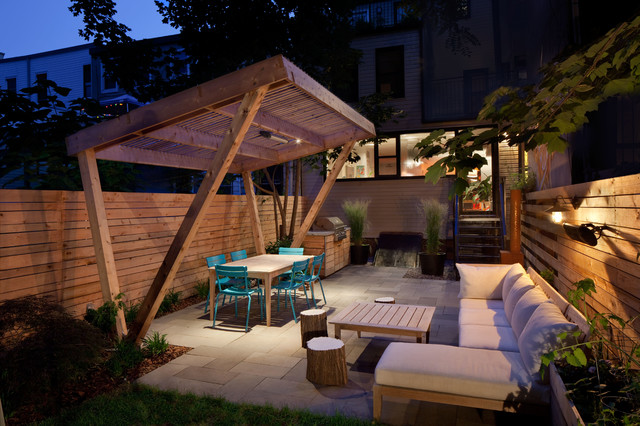 Pergola Canopy Patio Contemporary with Barn Light Outdoor Dining