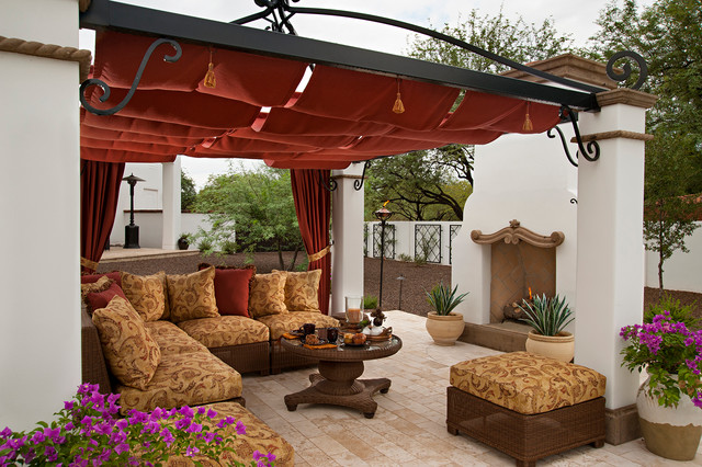 Pergola Canopy Patio Mediterranean with Beige Outdoor Cushions Brown