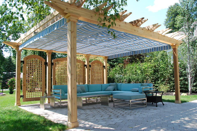 pergola canopy Patio Traditional with awning backyard blue canopy
