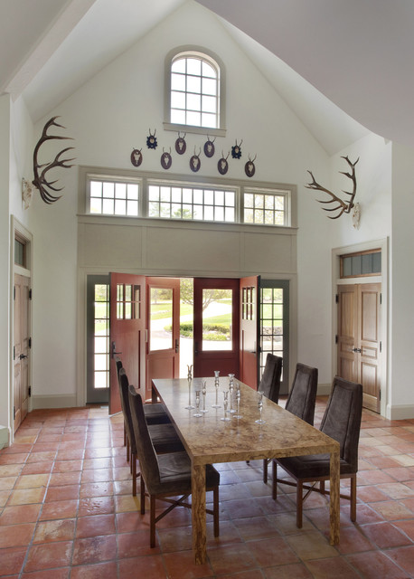 Persimmon Color Dining Room Rustic with Antlers Arched Window Benjamin