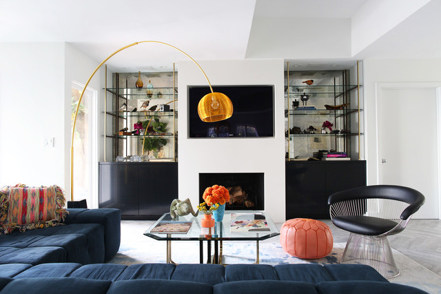 Persimmon Color Living Room Contemporary with Antiqued Mirror Arc Floor