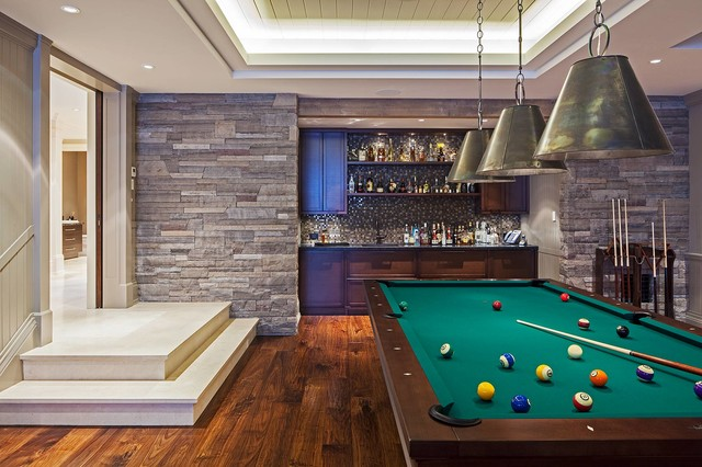 Peters Billiards Family Room Contemporary with Billiard Room Built Ins Dark