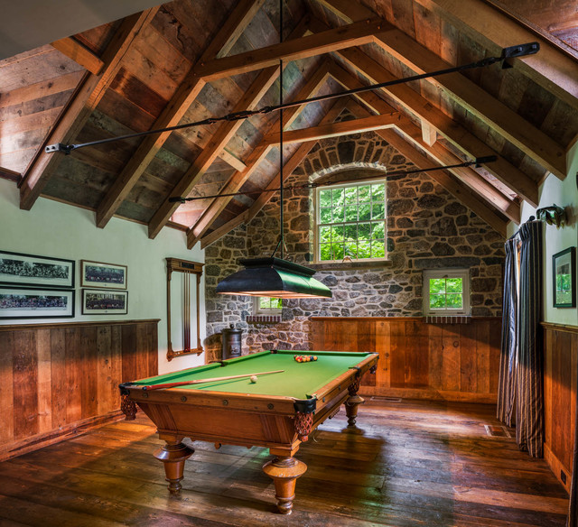 Peters Billiards Family Room Farmhouse with Beams Billiards Man Cave