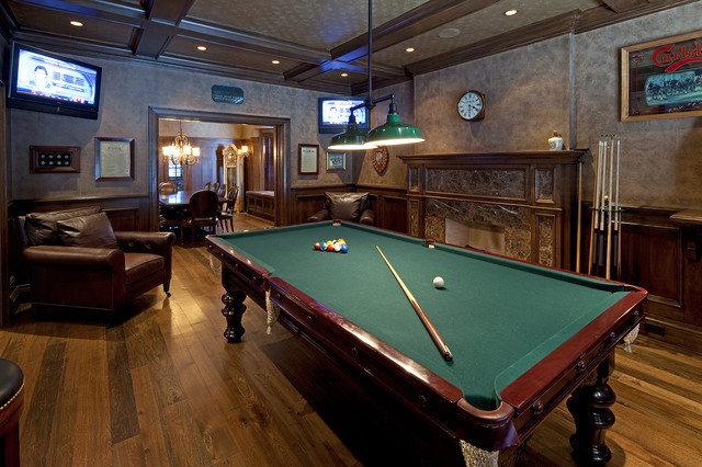 Peters Billiards Family Room Traditional with Accent Ceiling Billiard Lamp