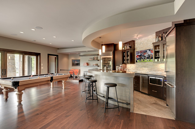 Peters Billiards Family Room Transitional with Bar Bar Area Bar