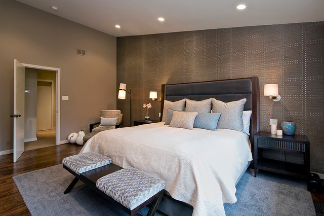 Phillip Jeffries Bedroom Contemporary with Beige Bedding Beige Throw