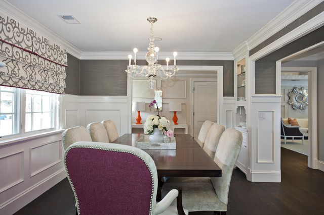 Phillip Jeffries Dining Room Traditional with Chandelier Dark Stained Wood