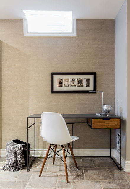 Phillip Jeffries Home Office Contemporary with Accent Wall Basement Beige