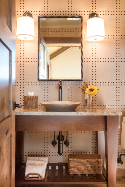 Phillip Jeffries Powder Room Rustic with Addition Aspen Linen Wallcovering