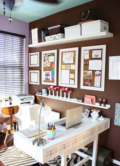 Picture Ledge Shelf Home Office with Blue Ceiling Brown Home