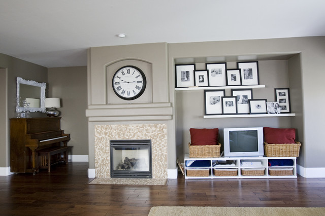 Picture Ledge Shelf Living Room Eclectic with Alcove Baseboards Cubbies Dark