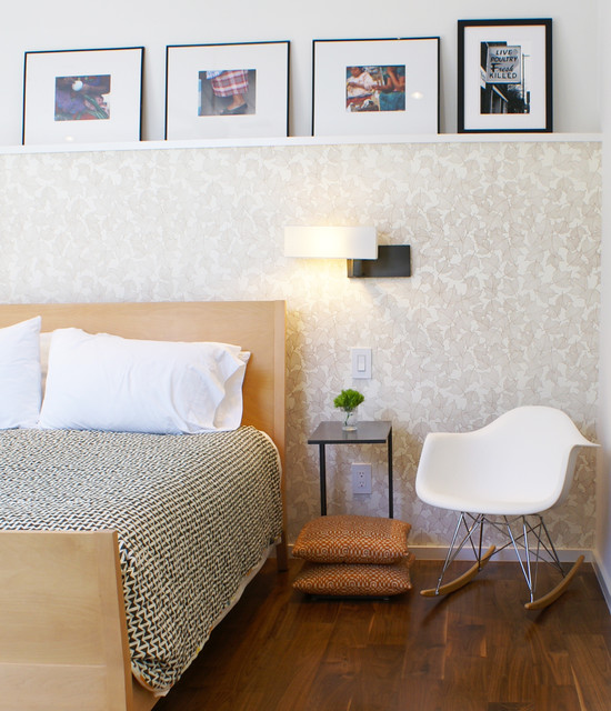 Picture Ledges Bedroom Modern with Armchair Decorative Pillows Headboard